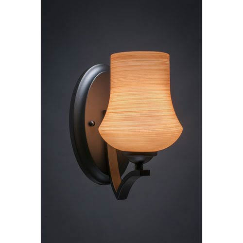 Zilo Matte Black One-Light Wall Sconce with Cayenne Linen Glass