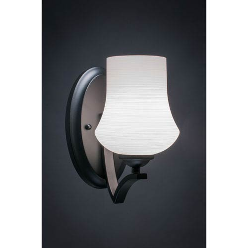 Zilo Matte Black One-Light Wall Sconce with White Linen Glass