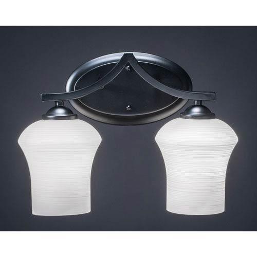 Toltec Lighting Zilo Matte Black Two-Light Vanity Fixture with White Linen Glass