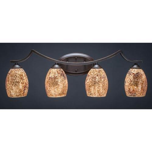 Toltec Lighting Zilo Dark Granite Four-Light Vanity Fixture with Gold Fusion Glass
