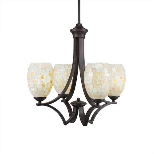 Zilo Dark Granite Four-Light Chandelier with Ivory Glaze Seashell Glass
