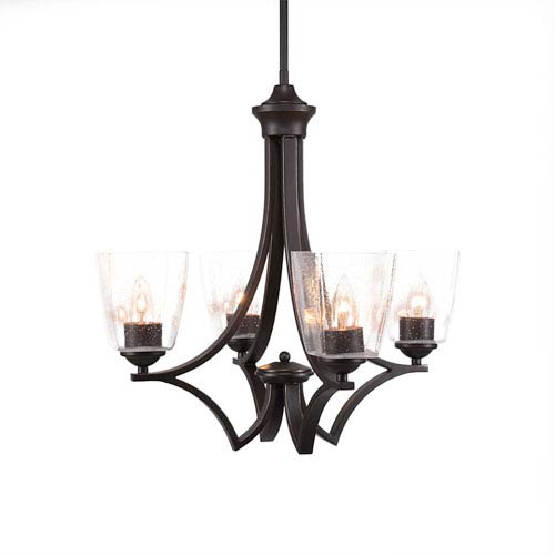 Toltec Lighting Zilo Dark Granite Four-Light 15-Inch Chandelier with Clear Bubble Glass