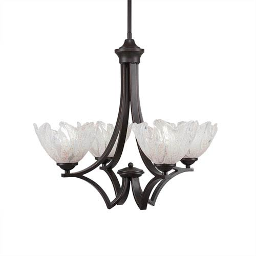 Toltec Lighting Zilo Dark Granite Four-Light 22.25-Inch Chandelier with Italian Ice Glass