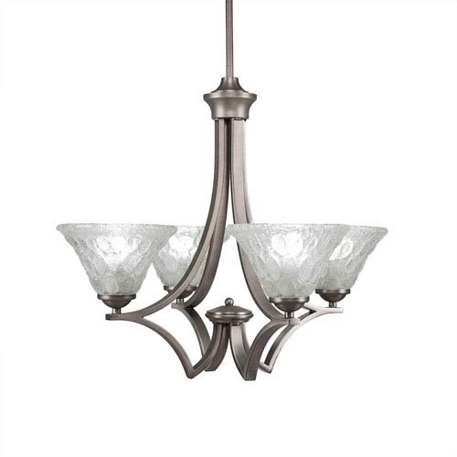 Toltec Lighting Zilo Graphite Four-Light 23-Inch Chandelier with Italian Bubble Glass