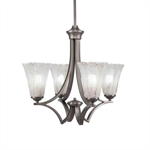 Toltec Lighting Zilo Graphite Four-Light Chandelier with Fluted Italian Ice Glass