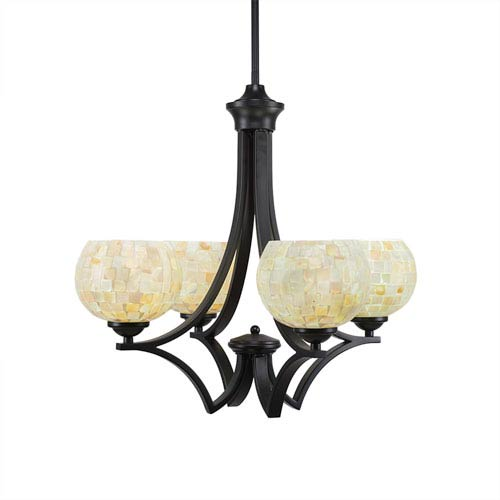 Toltec Lighting Zilo Matte Black Four-Light Chandelier with Mystic Sheashell Glass