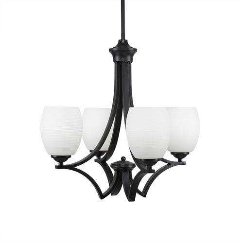 Toltec Lighting Zilo Matte Black Four-Light Chandelier with White Linen Glass
