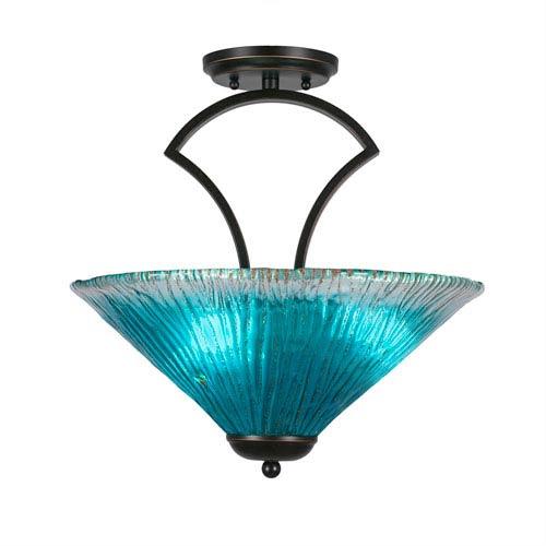 Zilo Dark Granite Three-Light Semi-Flush with 16-Inch Teal Crystal Glass