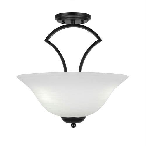Zilo Matte Black Three-Light Semi-Flush with 16-Inch White Linen Glass