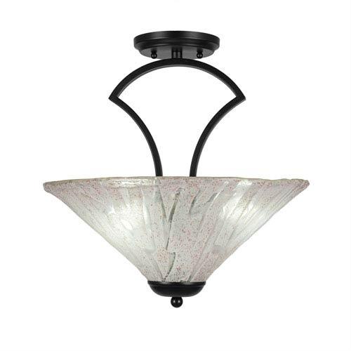 Zilo Matte Black Three-Light Semi-Flush with 16-Inch Italian Ice Glass