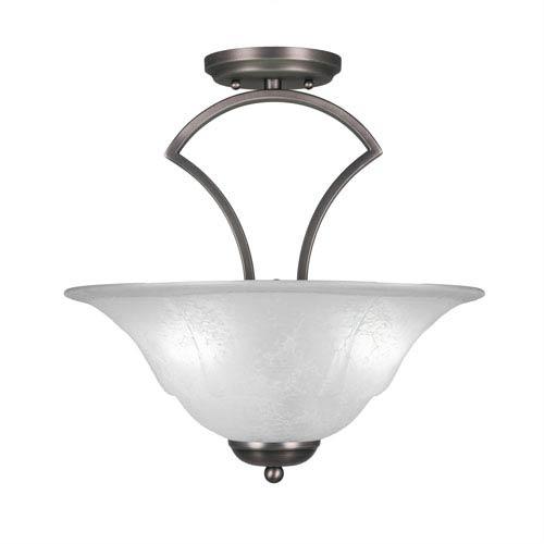 Zilo Graphite Three-Light Semi-Flush with 16-Inch White Marble Glass