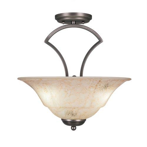 Zilo Graphite Three-Light Semi-Flush with 16-Inch Italian Marble Glass