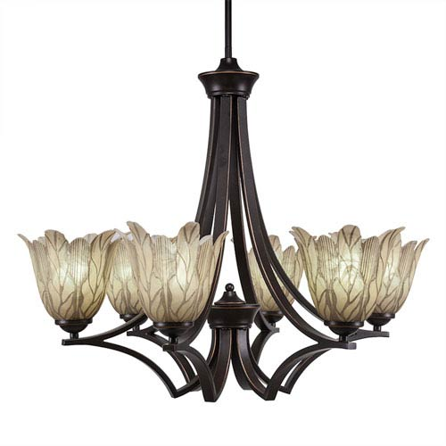 Zilo Dark Granite Six-Light Chandelier with Vanilla Leaf Glass