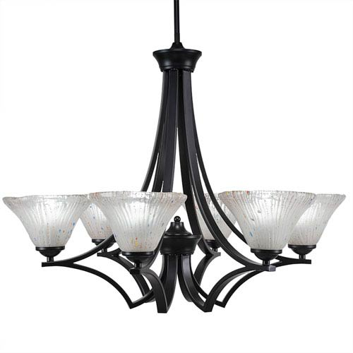 Toltec Lighting Zilo Matte Black Six-Light Chandelier with Frosted Crystal Glass