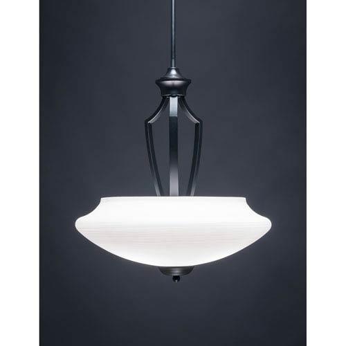 Zilo Matte Black Three-Light Pendant with White Linen Glass