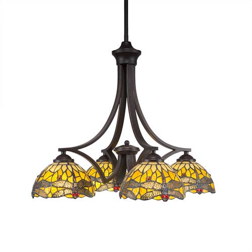Zilo Dark Granite Four-Light Chandelier with Amber Dragonfly Tiffany Glass