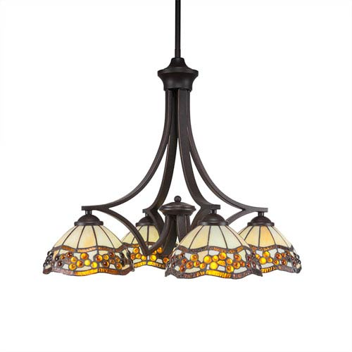 Zilo Dark Granite Four-Light Chandelier with Roman Jewel Tiffany Glass