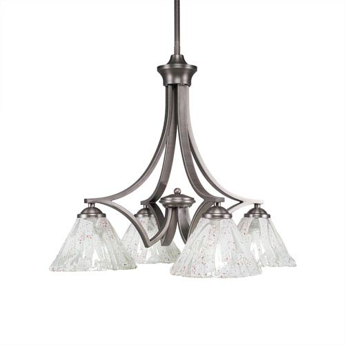 Zilo Graphite Four-Light 20-Inch Chandelier with Italian Ice Glass