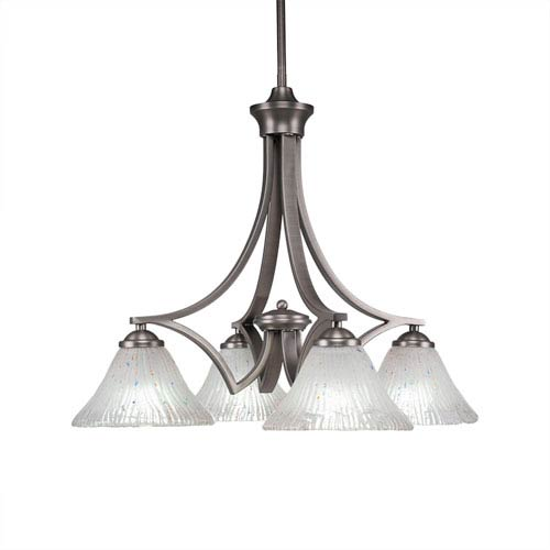 Toltec Lighting Zilo Graphite Four-Light 19-Inch Chandelier with Frosted Crystal Glass