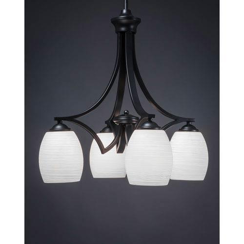Zilo Matte Black Four-Light Chandelier with White Linen Glass