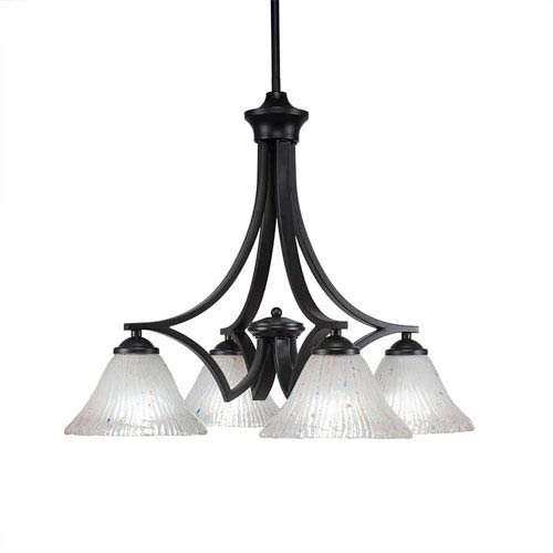 Zilo Matte Black Four-Light Chandelier with Frosted Crystal Glass