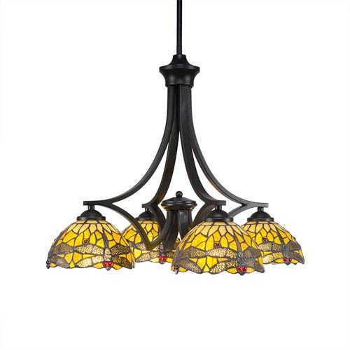 Zilo Matte Black Four-Light Chandelier with Amber Dragonfly Tiffany Glass