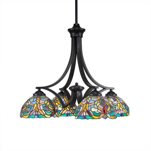 Zilo Matte Black Four-Light Chandelier with Kaleidoscope Tiffany Glass