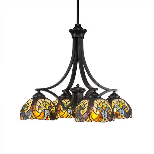 Zilo Matte Black Four-Light Chandelier with Ivory Crescent Tiffany Glass