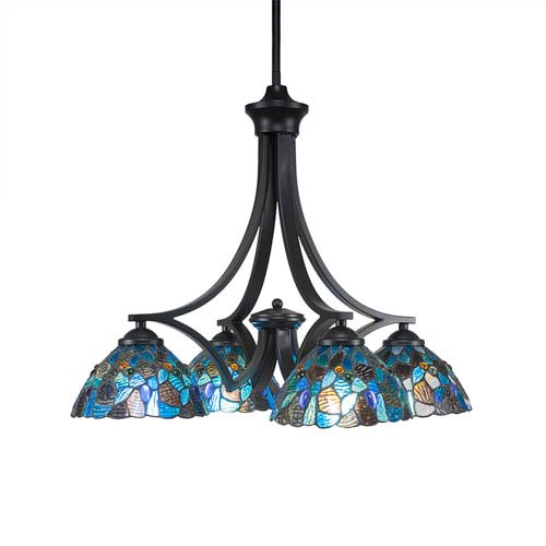Toltec Lighting Zilo Matte Black Four-Light Chandelier with Blue Mosaic Tiffany Glass