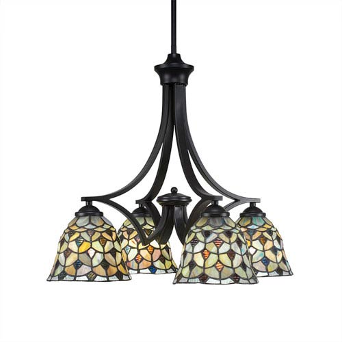 Zilo Matte Black Four-Light Chandelier with Crescent Tiffany Glass
