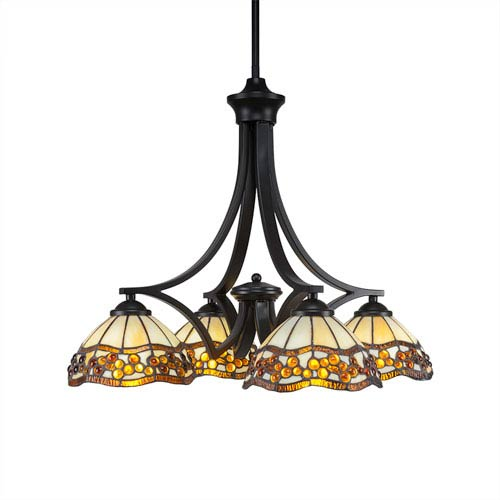 Zilo Matte Black Four-Light Chandelier with Roman Jewel Tiffany Glass
