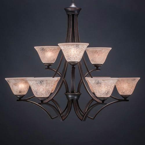 Toltec Lighting Zilo Dark Granite Nine-Light Chandelier with Italian Marble Glass