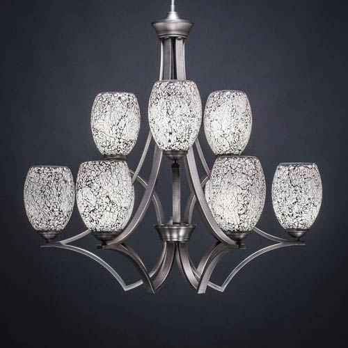 Toltec Lighting Zilo Graphite Nine-Light Chandelier with Black Fusion Glass