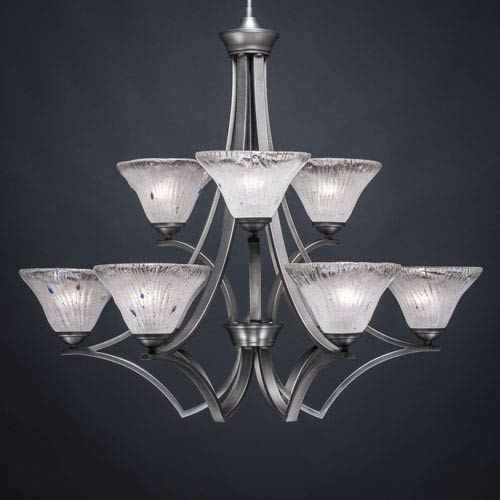 Toltec Lighting Zilo Graphite Nine-Light Chandelier with Frosted Crystal Glass