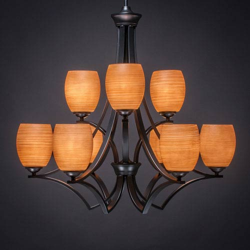 Toltec Lighting Zilo Matte Black Nine-Light Chandelier with Cayenne Linen Glass