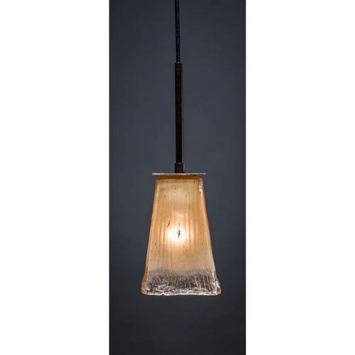 Toltec Lighting Apollo Dark Granite One-Light Pendant with Amber Crystal Glass