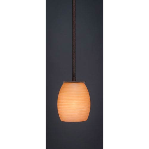 Toltec Lighting Apollo Dark Granite Stem Mini Pendant with 5-Inch Cayenne Linen Glass