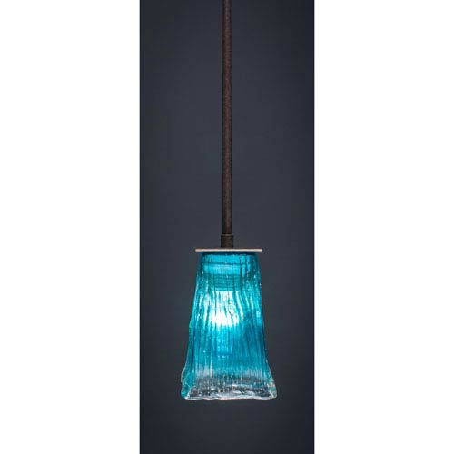 Toltec Lighting Apollo Dark Granite Stem Mini Pendant with 5-Inch Square Teal Crystal Glass