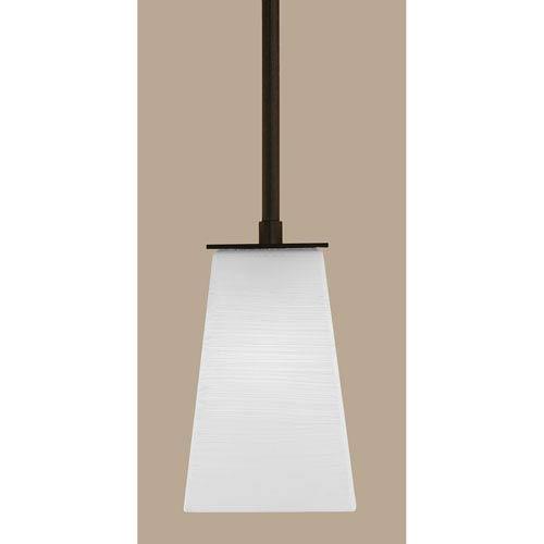 Toltec Lighting Apollo Dark Granite Stem Mini Pendant with 5-Inch Square White Linen Glass