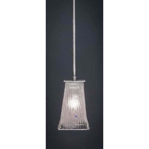 Toltec Lighting Apollo Graphite Stem Mini Pendant with 5-Inch Square Frosted Crystal Glass