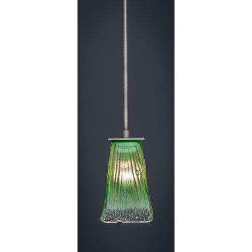 Toltec Lighting Apollo Graphite Stem Mini Pendant with 5-Inch Square Kiwi Green Crystal Glass