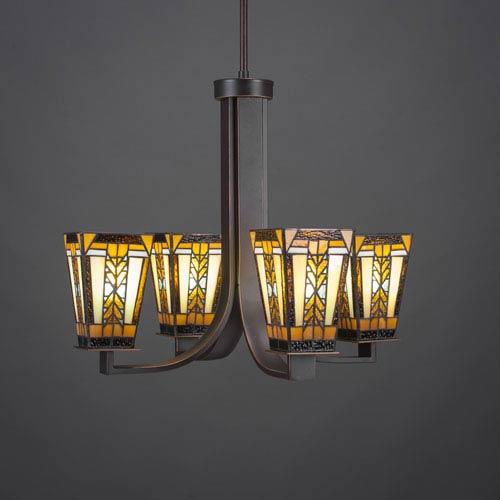 Toltec Lighting Apollo Dark Granite Four-Light Chandelier with Santa Cruz Tiffany Glass