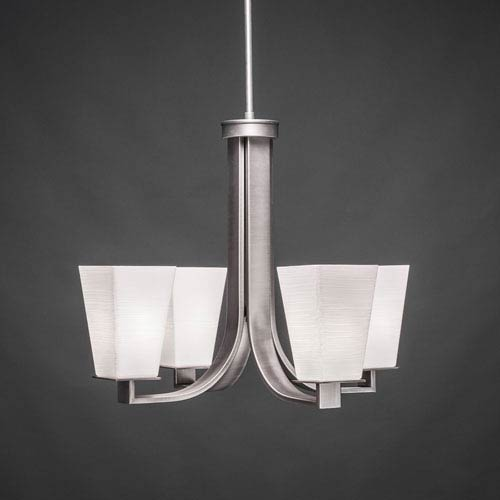 Toltec Lighting Apollo Graphite Four Light Chandelier with 5-Inch Square White Linen Glass