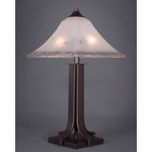 Apollo Dark Granite 14-Inch Two Light Table Lamp with Square Frosted Crystal Glass