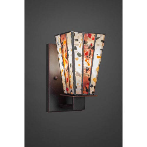 Apollo Dark Granite One-Light Wall Sconce with Fiesta Tiffany Glass