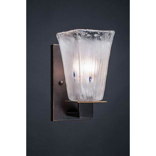 Apollo Dark Granite 5-Inch One Light Wall Sconce with Square Frosted Crystal Glass