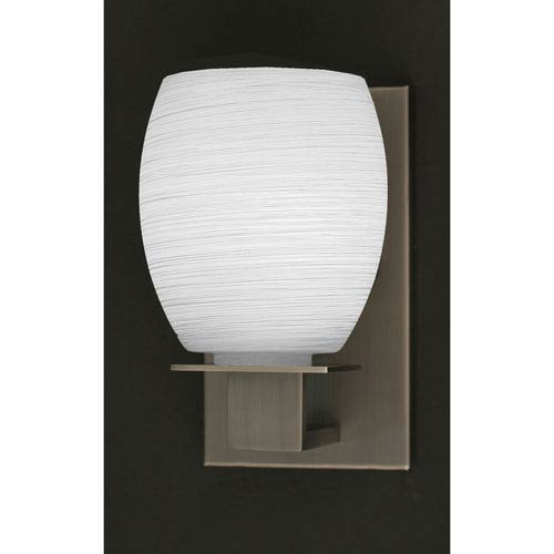 Toltec Lighting Apollo Graphite Wall Sconce with 5-Inch White Linen Glass