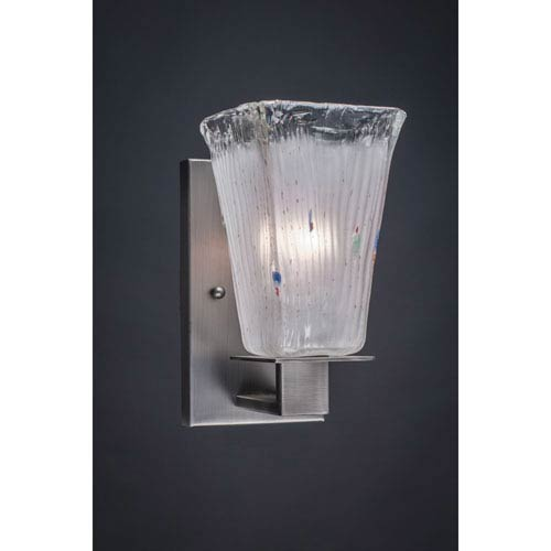 Apollo Graphite Wall Sconce with 5-Inch Square Frosted Crystal Glass