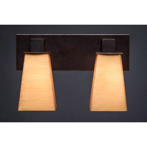 Toltec Lighting Apollo Dark Granite 5-Inch Two Light Bathroom Wall Lighting with Square Cayenne Linen Glass