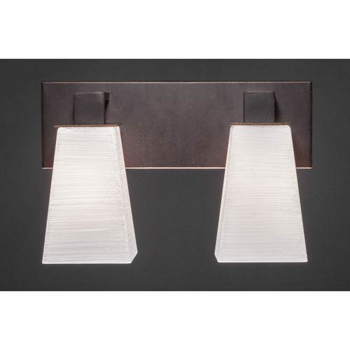 Toltec Lighting Apollo Dark Granite 5-Inch Two Light Bathroom Wall Lighting with Square White Linen Glass